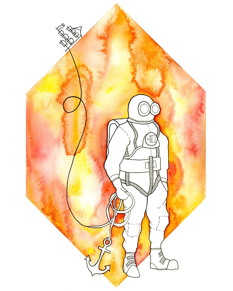 anna kristindottir watercolor piece of a scuba diver holding an anchor of a boat called scuba anchor