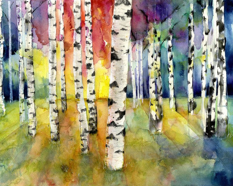 lovisa axellie watercolor painting of a colorful rainbow forest called bjorkskog