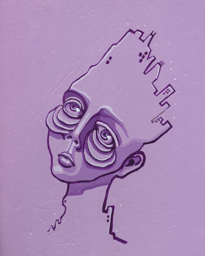 sienna browne abstract purple painting of a person tired from the city life called burnt out