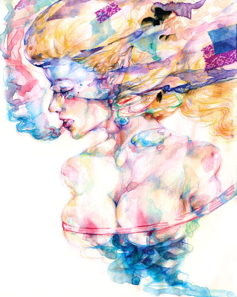 ai sio pui ian watercolor painting of a colorful girl called dead in the water
