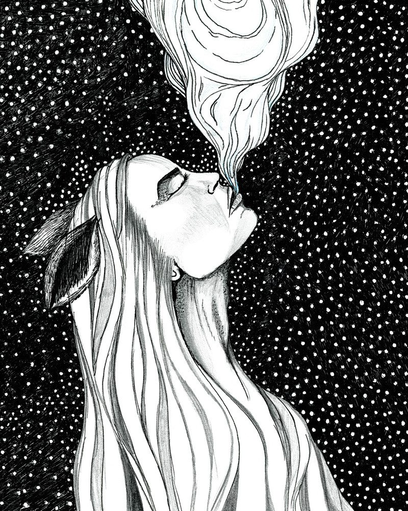 tamzin riches pen and ink drawing of a girl with fox ears blowing smoke called enchantress of smoke