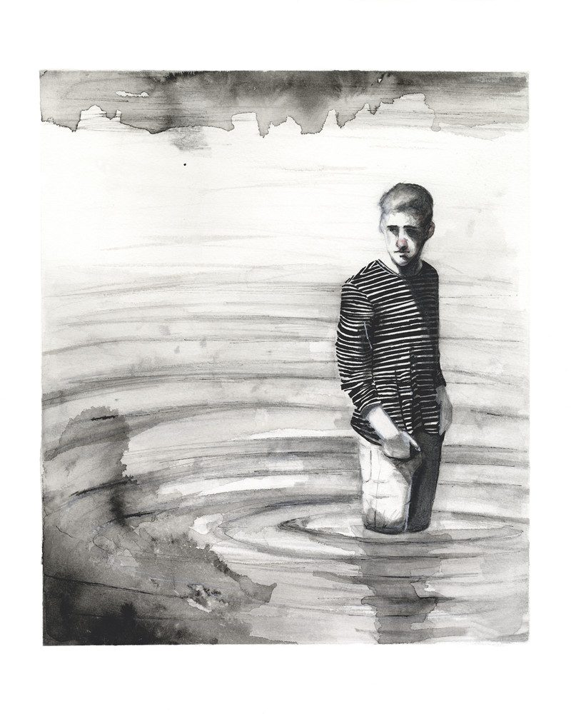 wunderkid lovisa axellie charcoal drawing of a boy standing in water called lake
