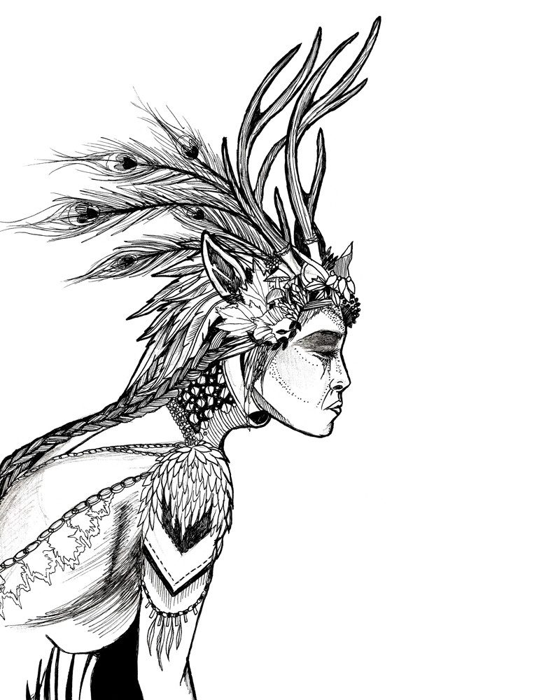 wunderkid tamzin riches pen and ink drawing of an Indian tribal woman called natures witchcraft