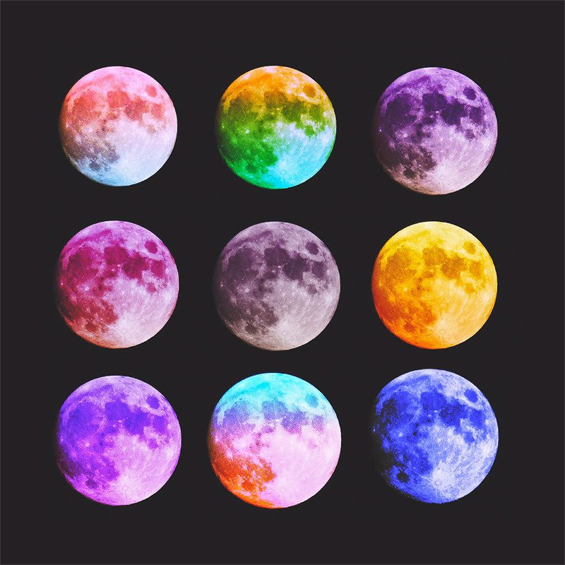 photograph by ben lasky of different colored rainbow moons called lunar shades