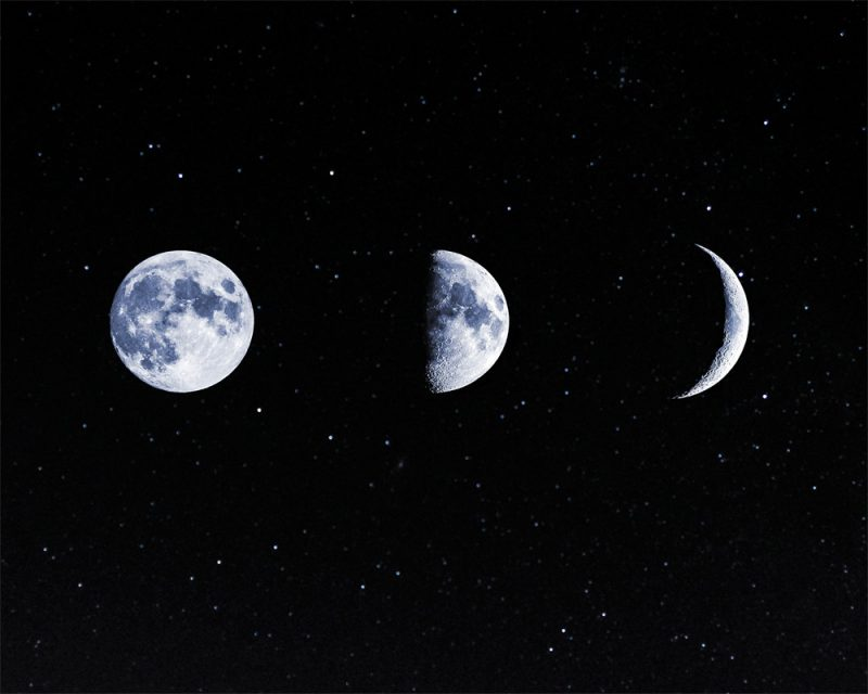 photograph of different moon shapes called phases of the moon