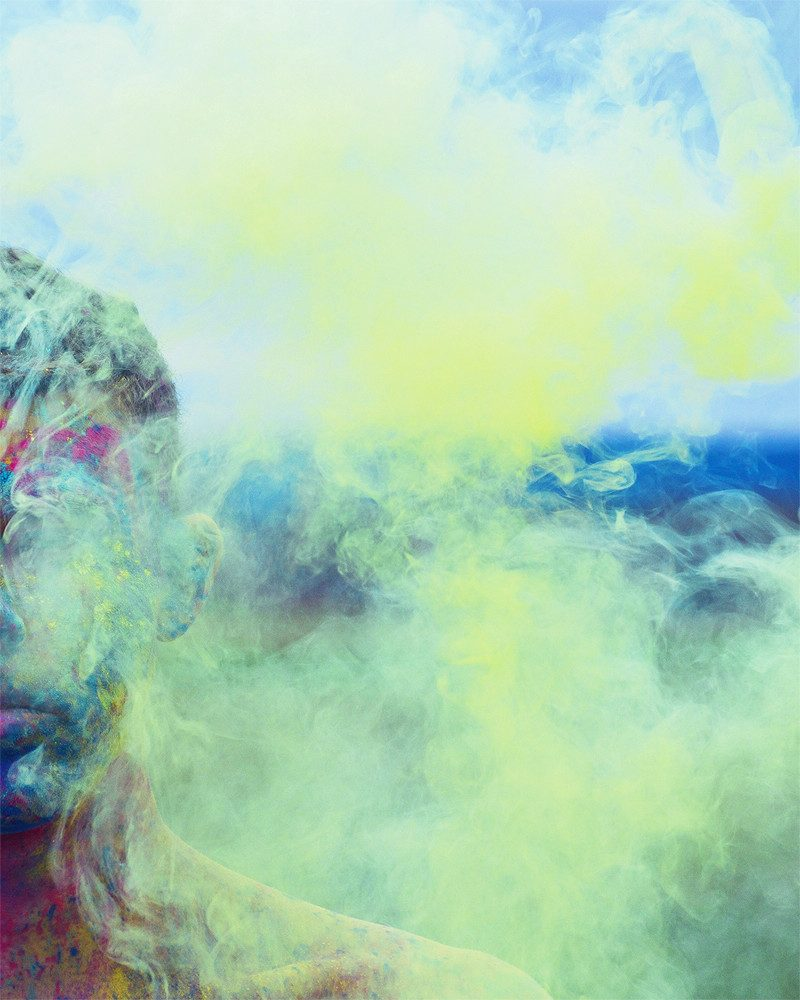ben lasky photograph of boy covered in colorful chalk smoke