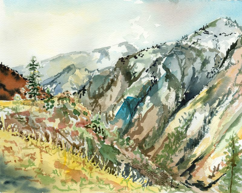 abstract painting of mountains by called aboveluckycreek