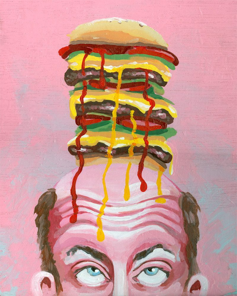 painting of a man's face rolling his eyes up to see the massive burger he has on top of his head and the sauce leaking over his forehead by Wunderkid Sienne Brown called BurgerMan