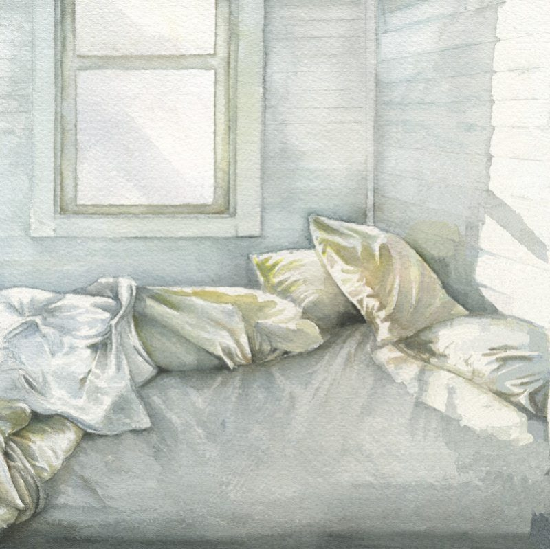 painting of a bed with white sheet and pillows all over