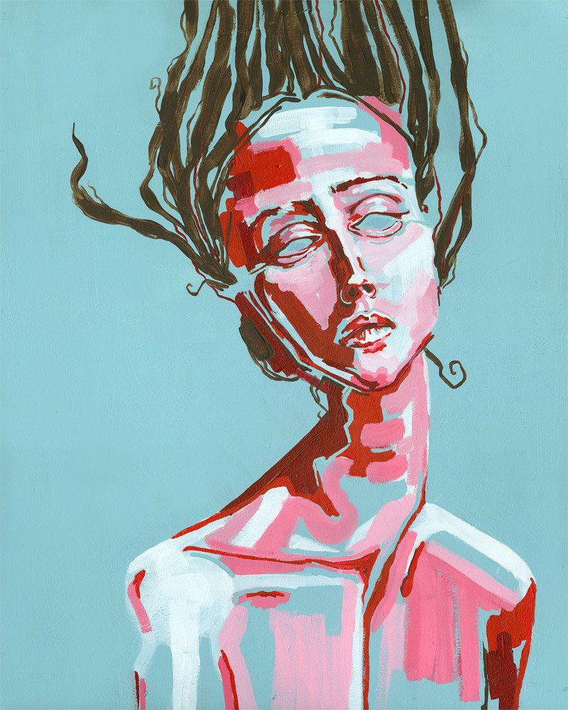 Abstract painting of woman fading into the blue background color with an anger and sorrow face expression by wunderkid sienna browne called broken