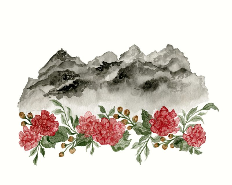 painting of red flowers under a big black painted cloud by wunderkid artist
