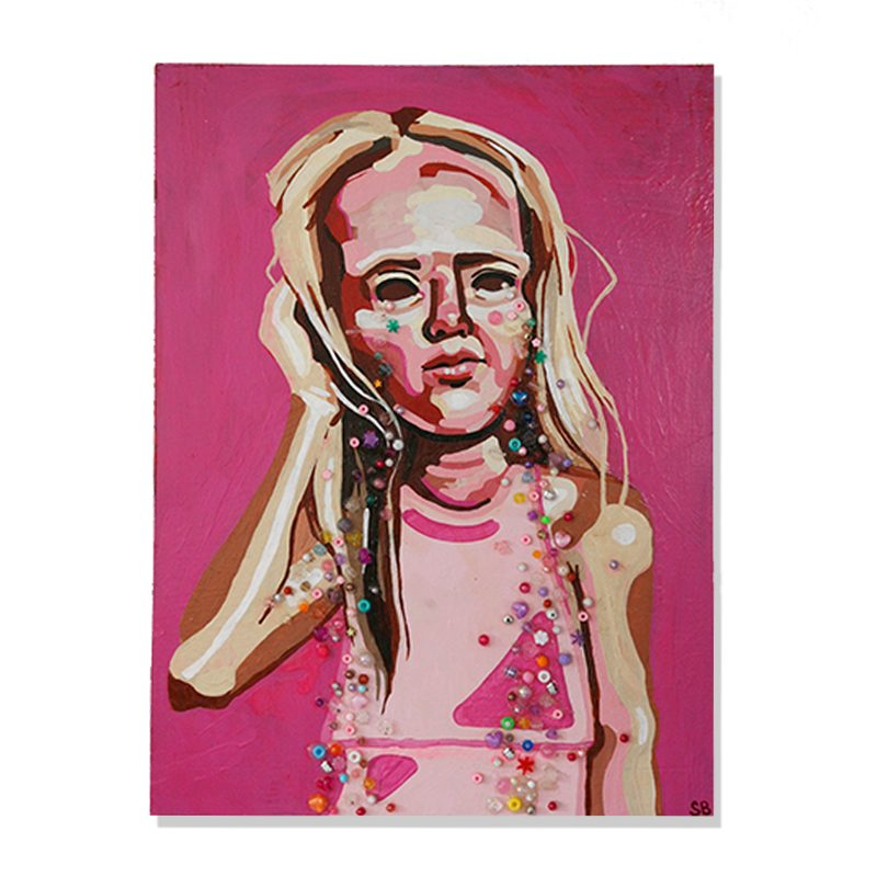 original abstract painting of a girl holding her head and crying candies by wunderkid artist Sienna Brown