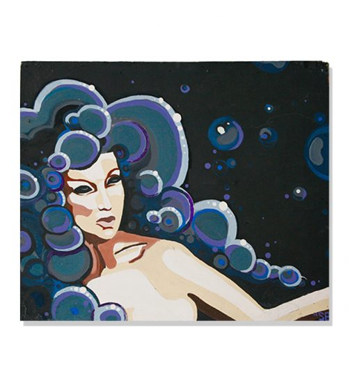 original abstract portrait painting of a woman with bubble hair in a black background called cloud lady by Sienna Brown