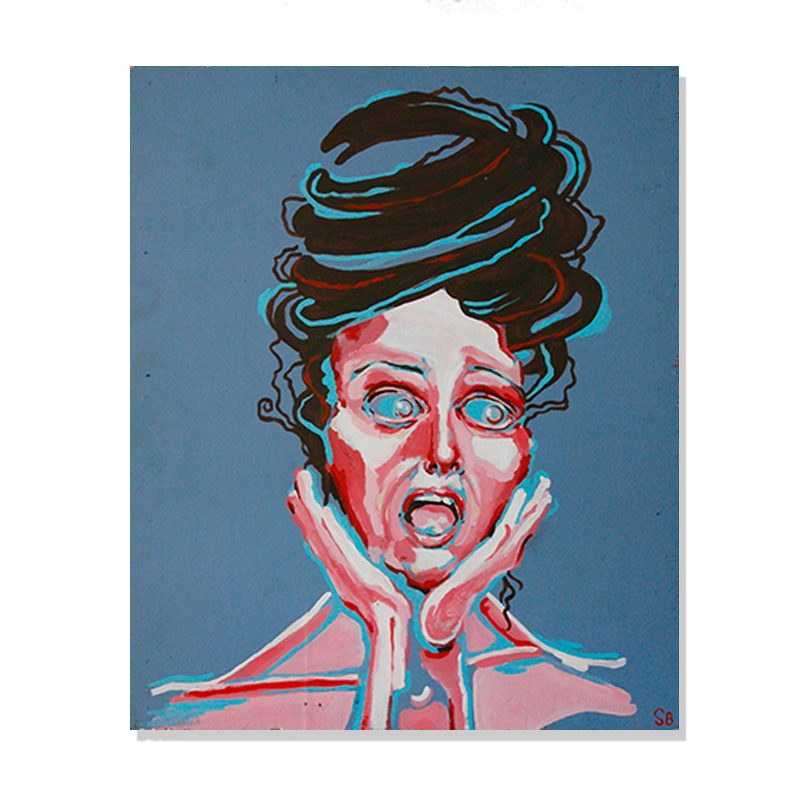 Original abstract portrait painting of scared woman screaming with hair pulled up in a blue colored background called scream by artist Sienna Brown
