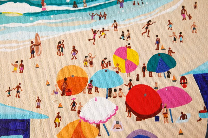 original painting of people enjoying a day at the beach called surf city by artist Sienna Brown