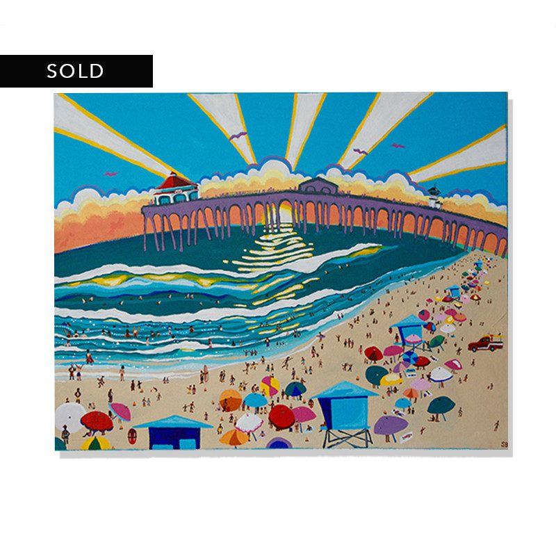 original painting of people enjoying a day at the beach with a beautiful sunset behind a pier called surf city by artist Sienna Brown