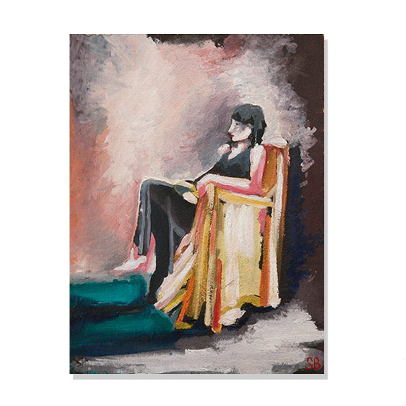 original abstract painting of a woman seated in a yellow colored chair with no facial expression by artist Sienna Brown