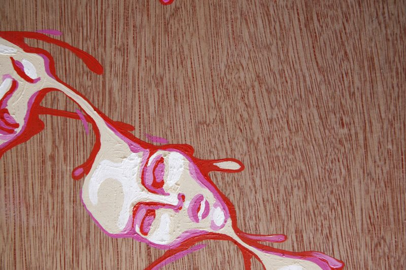original abstract painting of a white pinky face painted on wood by artist Sienna Brown called wax