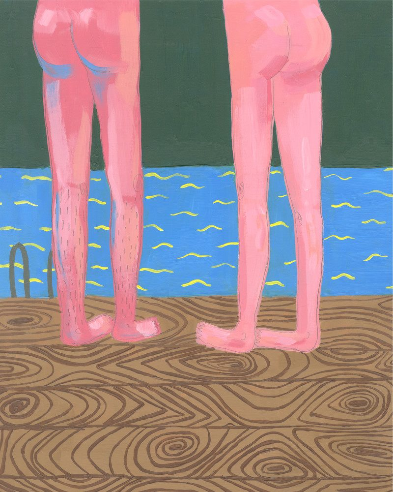 original painting of a woman and man's naked legs on a pier facing the ocean called exploration by artist Zoey Duong