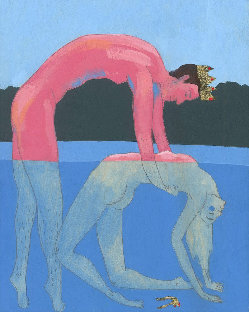 original painting of a naked prince trying to take his naked princess out of the water called his majesty by artist Zoey Duong