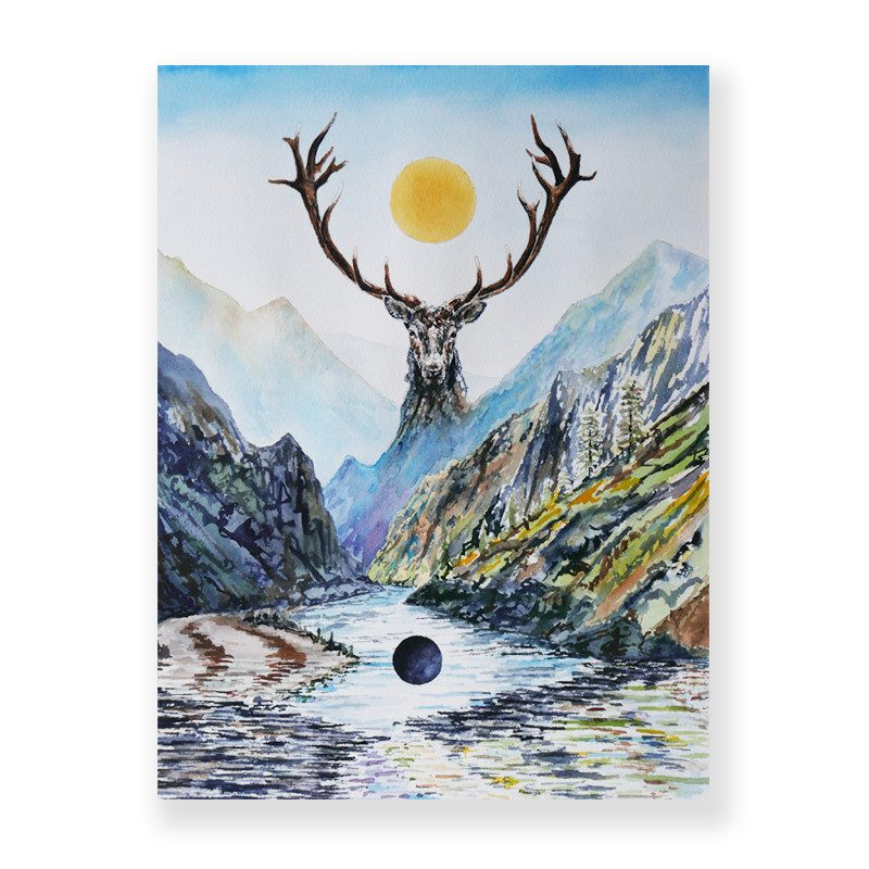 original painting of a deer face with giant horns facing a river and mountains and backward the sun called emrynta lighting by artist Seth Spencer
