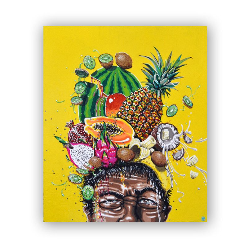 original abstract painting of man with many cut fruits on top of his head in a flashy yellow background called fruit flys by artist Sienna Brown