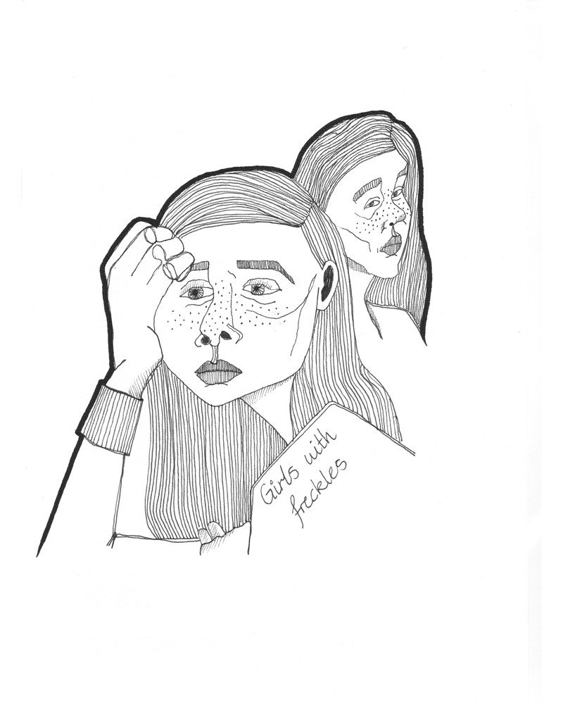 original abstract drawing of two girls with freckles called girls with freckles by artist Christina Sharp