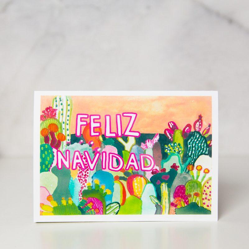Feliz Navidad greeting card with colorful cactus drawings by wunderkid artistIda Patton