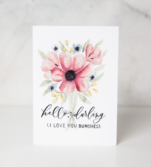 love card with painted bouquet of red and blue flowers with the Hello, Darling (I love you bunches) wording in a complete white background called love you bunches by artist Jordan Marshall