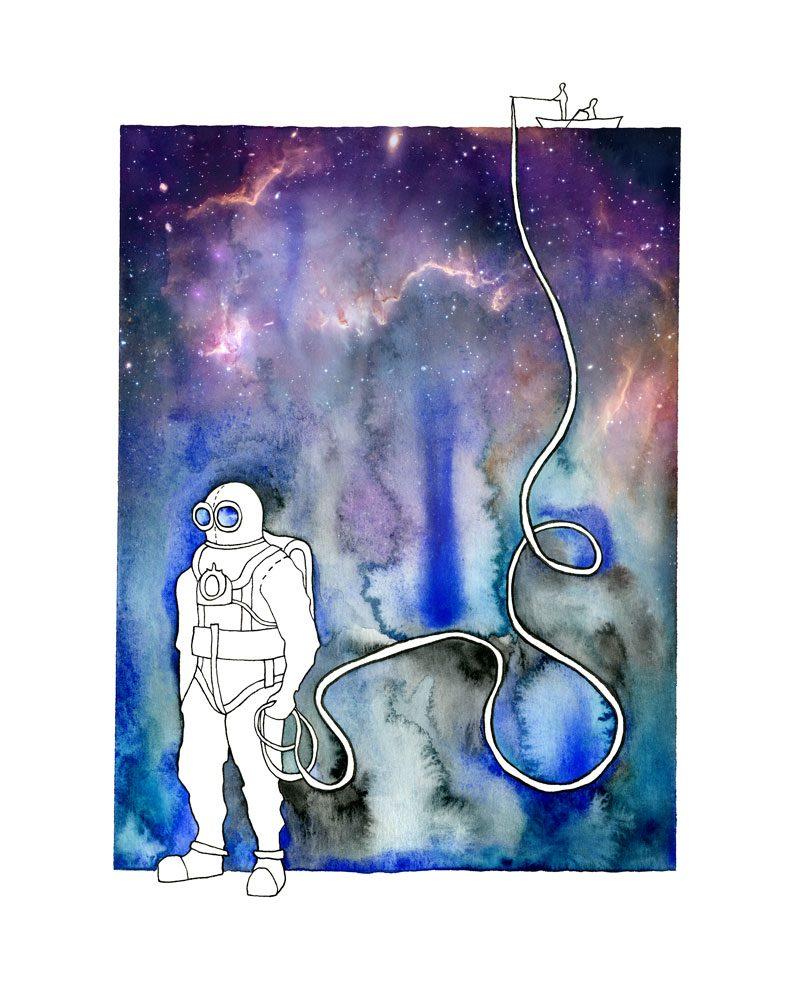 anna kristindottir watercolor piece of a scuba diver holding a fishing line of a boat called scuba dude