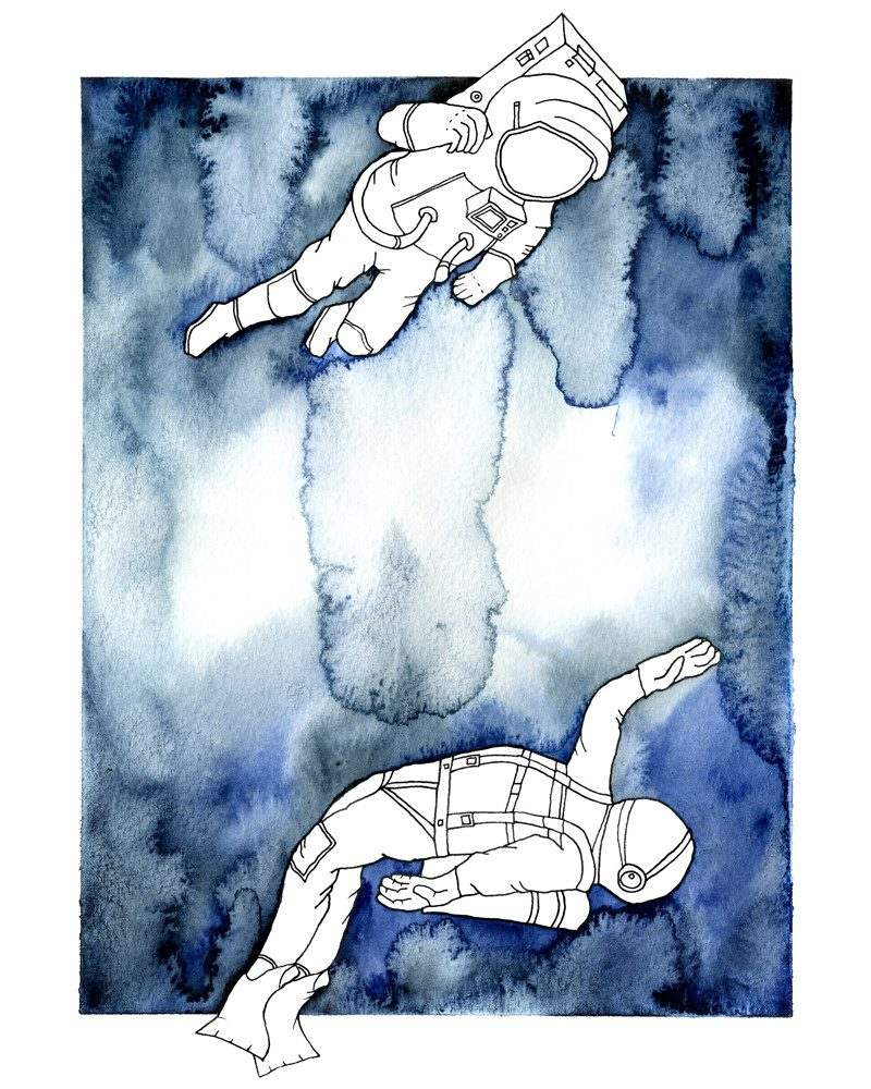 anna kristinsdottir watercolor painting of astronauts floating called astro scuba