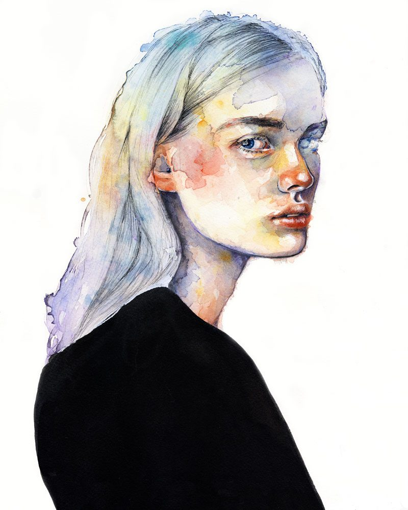 lovisa axellie watercolor painting of a colorful girl called for something lasting