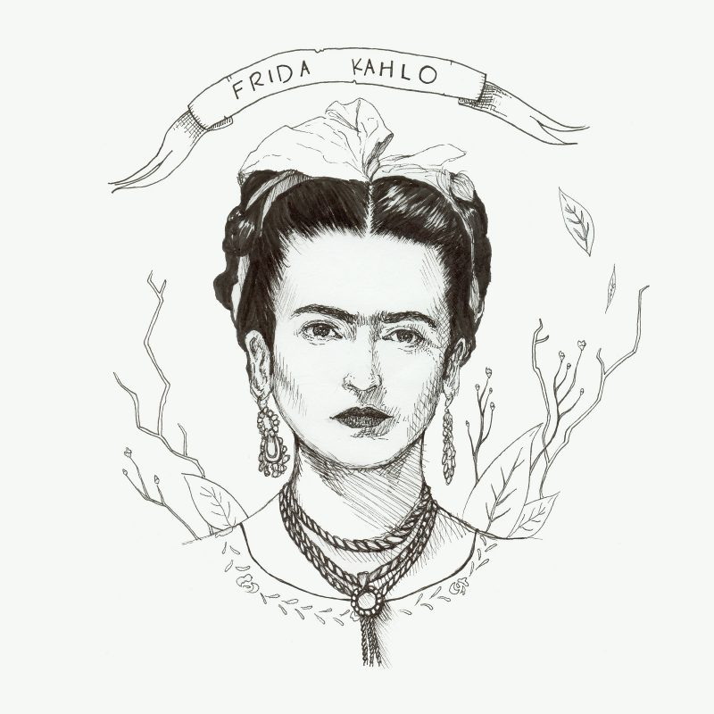 wunderkid claire watkins pen and ink drawing of frida kahlo called frida kahlo