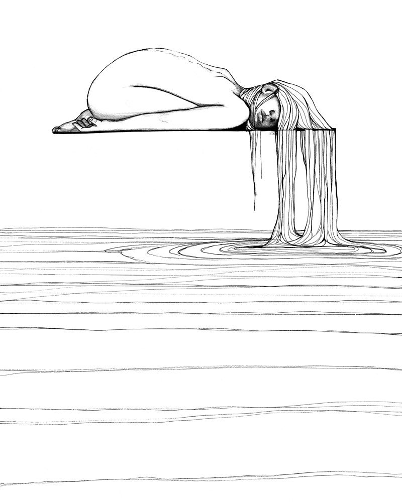 lovisa axellie pen and ink drawing of a girls hair flowing into water called pour