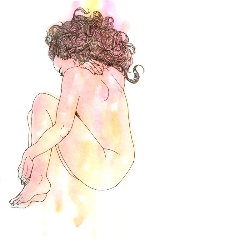 wunderkid lovisa axellie watercolor art of a girl curled up in a ball called underneath