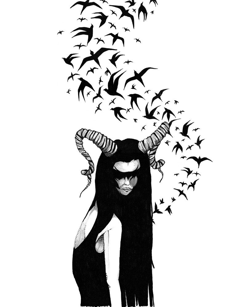 tamzin riches pen of a girl with horns and birds called vixen of the darkness