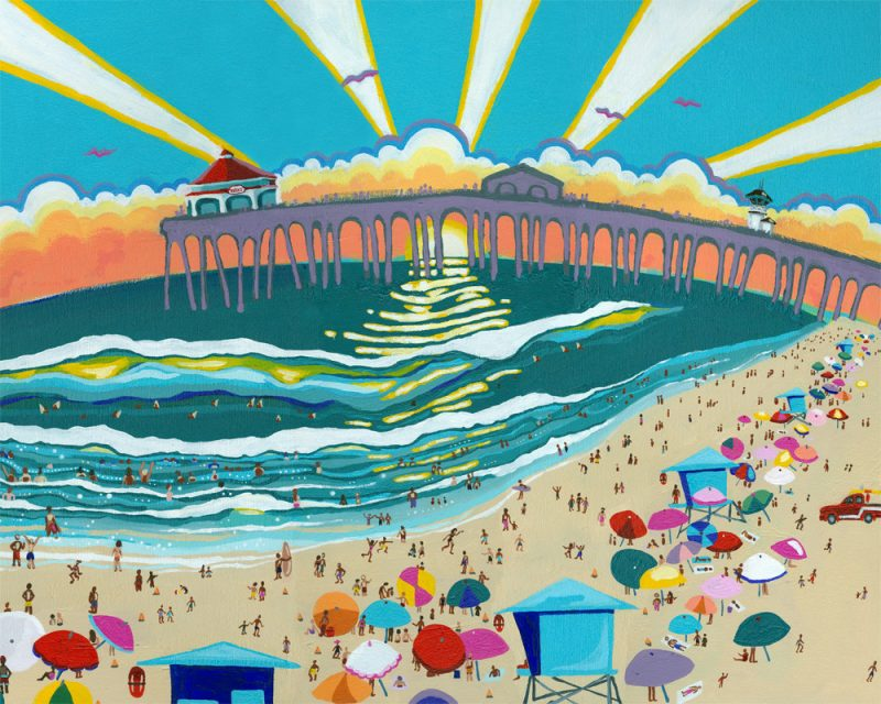 sienna browne abstract landscape painting of the huntington beach pier