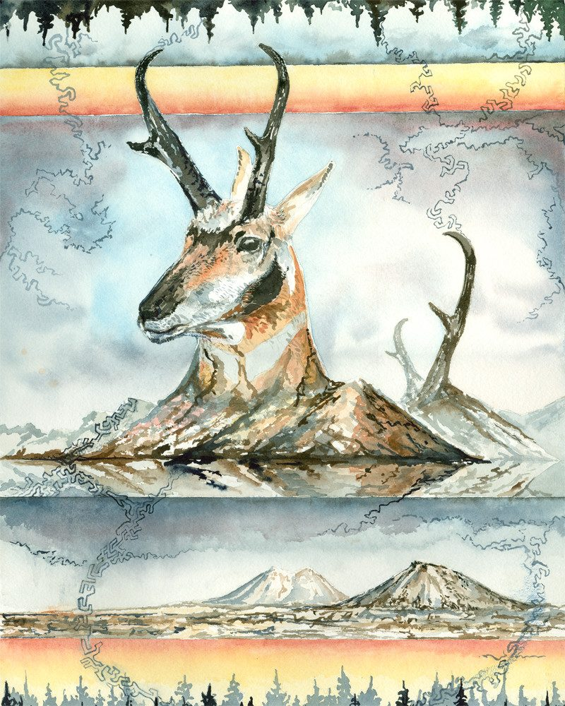 painting of a deer face with long black horns surrounded with mountains by called LoomingWinter
