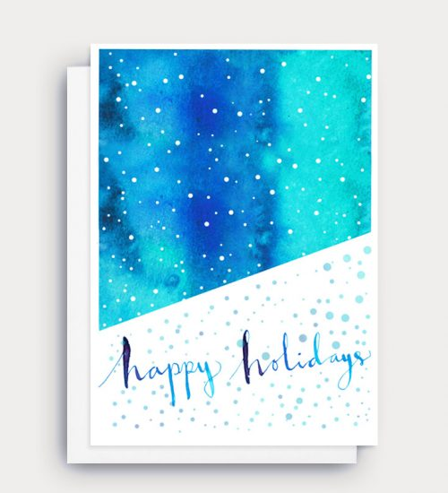 greeting card with snowflakes falling from the sky on a complete snow-covered surface drawn by wunderkid artist