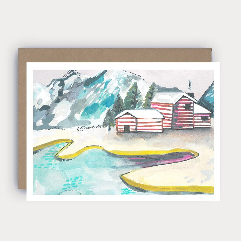 winter wonderland greeting card with a houses, snow-covered mountains and a lac drawings by wunderkid artist