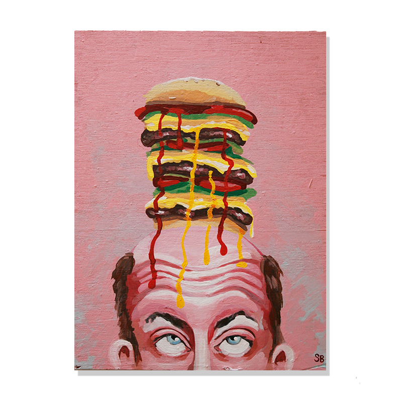 original painting of a man's face rolling his eyes up to see the massive burger he has on top of his head and the sauce leaking over his forehead by Wunderkid Sienne Brown called BurgerMan
