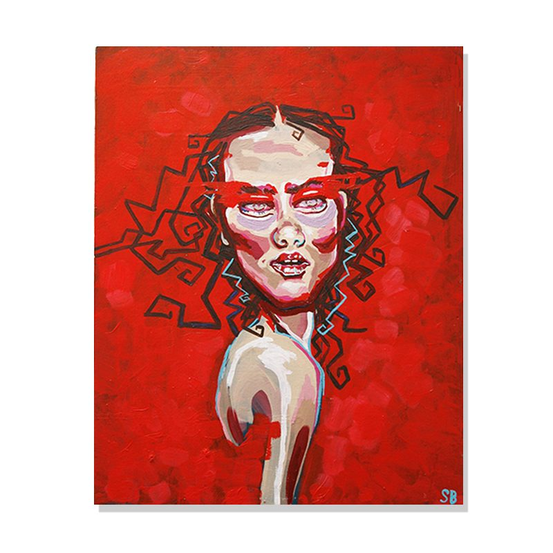 Original abstact portrait painting of a woman with tangled hair in a flashy red background called fringe by artist Sienna Brown