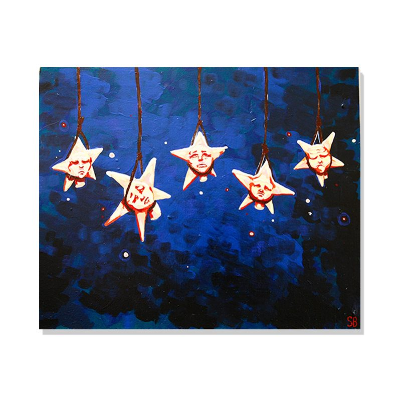original painting of five stars hanged with ropes from the sky in a dark blue background called hanging stars by artist Sienna Brown