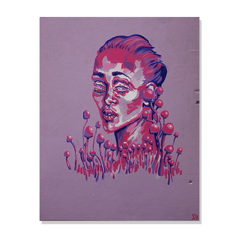 original magenta abstract portrait painting of a woman in the middle of a mushroom field called magenta dream by artist Sienna Brown
