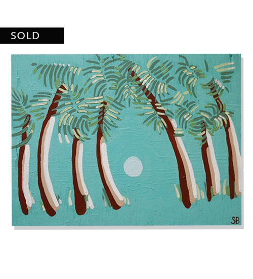 Original painting of a palm trees facing a sunset in a turquoise colored background called palms by artist Sienna Brown