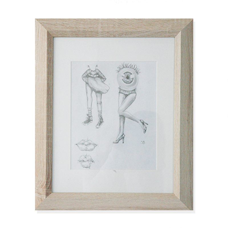 Original sketchbook drawing of a mouth and an eye with woman legs by artist Sienna Brown
