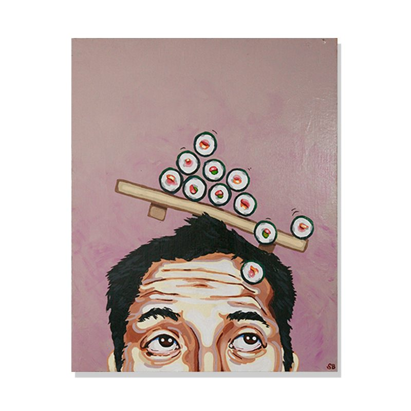 original abstract painting of a men scrolling his eyes up to see sushi getting in into his brain called sushi rolls by artist Sienna Brown