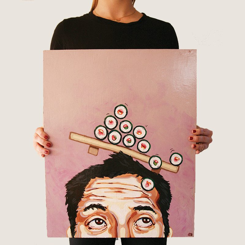 photograph of a woman holding an original abstract painting of a men scrolling his eyes up to see sushi getting in into his brain called sushi rolls by artist Sienna Brown