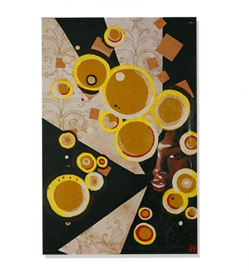 original abstract portait painting of a black woman hidden by yellow circles by artist Sienna Brown
