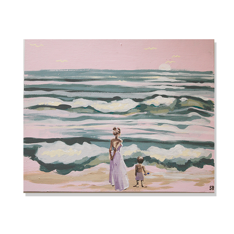 Original abstract painting of a woman in a dress and a little boy in a swimsuit holding a shovel looking at the ocean by artist Sienna Brown